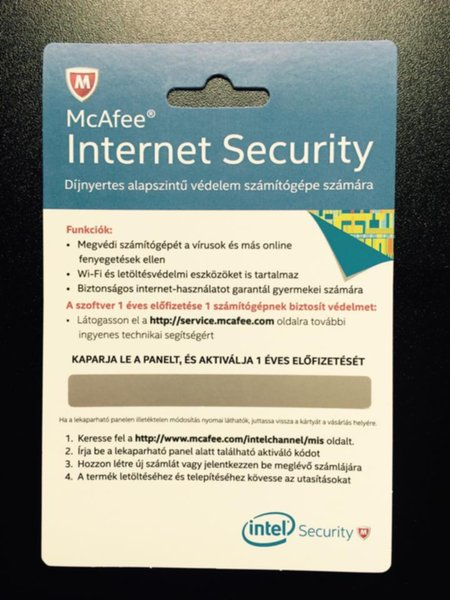 Intel  McAfee Internet Security - 1év - Black Friday ajándék
